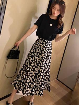 【米粒儿168_】两件套女春季短袖上衣搭不规则A字裙气质套装 #百元搭一套#