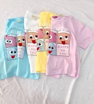 【yueyue月月1992】男女中小童卡通短袖T恤