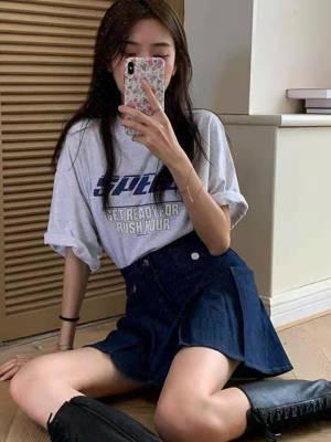 【敏红灿】义慵懒少女复古字母印花宽松短袖T恤+半身裙两件套女
