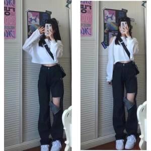 套装学生韩风温柔简约露肩长袖卫衣+高腰牛仔破洞裤女(预售)