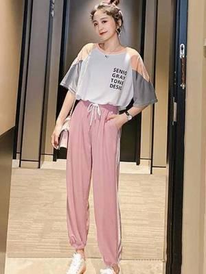 【小小美妞儿呀】网红运动服套装女夏新款时尚韩版宽松学生洋气休闲短袖两件套潮