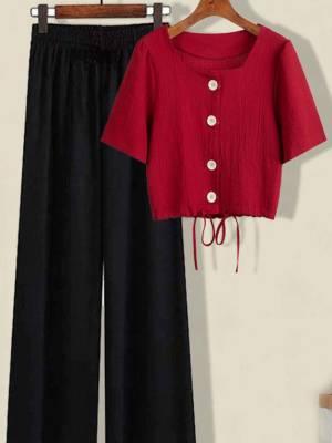 【小小美妞儿呀】绳短款上衣小个子高腰垂感冰丝阔腿裤两件套女潮