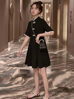 【小小美妞儿呀】连衣裙女气质立领盘扣仙女裙复古中国风裙子拼接蕾丝收腰显瘦短裙