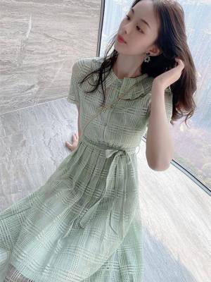 【小小美妞儿呀】假两件套气质甜美连衣裙女夏季新款小个子系带收腰法式气质裙子潮