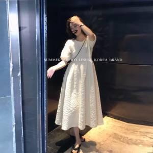 夏季新款法式桔梗裙蕾丝钩花吊带设计款假两件收腰显瘦连衣裙