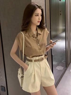 【黑皮雪梨呀呀】轻熟风套装女夏季2021年新款坎肩衬衫上衣+休闲短裤子时尚两件套
