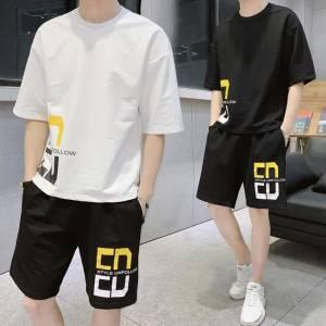 【彩妆师华子】夏季男士短袖套装休闲短袖T恤短裤韩版宽松青年学生休闲两件套潮 #男短袖套装#