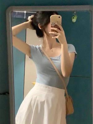 【小个子乐乐LL】小清新蓝色修身短袖T恤+白色高腰半身裙中长款显瘦夏季两件套潮