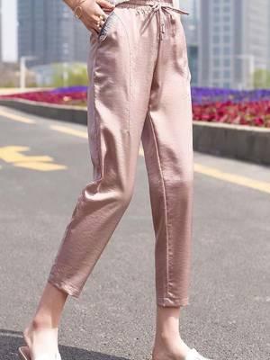 【小个子乐乐LL】2021新款冰丝运动休闲裤女夏宽松百搭九分哈伦裤萝卜女裤潮