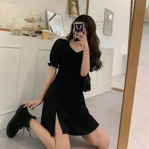 雪纺黑色连衣裙子女夏天长款气质性感显瘦法式辣妹开衩设计裙