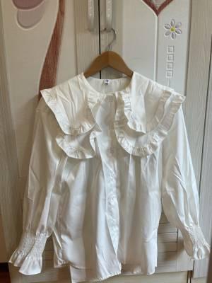 甜美的衬衫款式,搭配背心毛衣都很OK,布料是那种有点点珠光的,容易清洗的布料,不是纯棉的衬衫料子。很喜欢,非常好看。 #可可里小姐MG粉丝晒单#