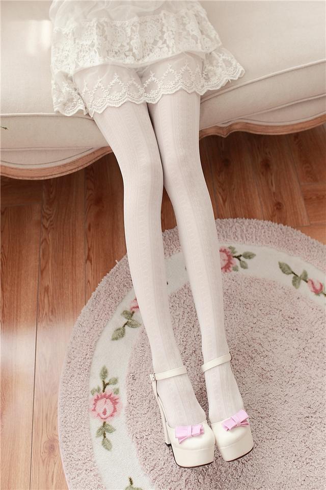 日系洛丽塔竖条蕾丝连裤袜 仙甜美薄款丝袜 显瘦美腿打底袜子