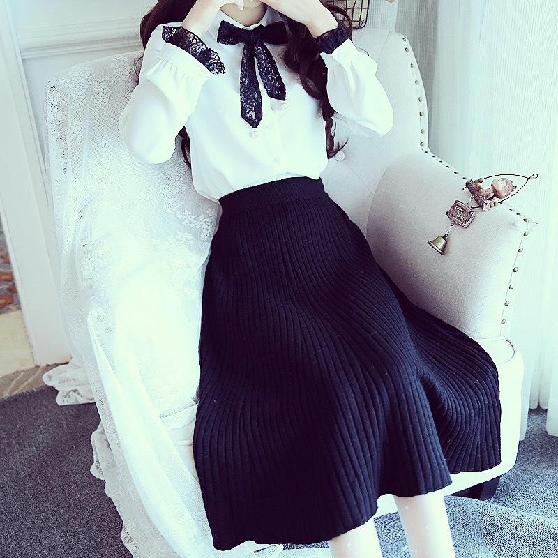 蕾丝长袖衬衫上衣竖纹百褶A字针织半身裙中长款大摆伞裙两件套装
